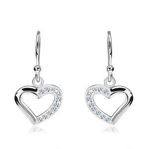 Wiszące kolczyki ze srebra 925 - cyrkoniowe połówki serca