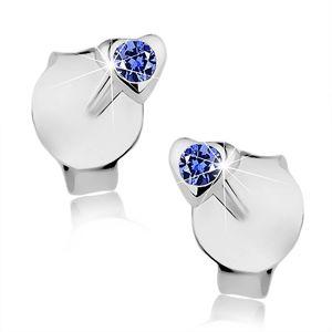 Wkręty, srebro 925, drobne serduszko, ciemnoniebieski kryształ