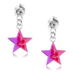 Wkręty, srebro 925, przezroczysty kryształ, różowo-fioletowa gwiazdeczka
