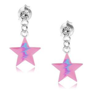 Wkręty, srebro 925, różowa gwiazda, niebieski zygzakowy wzór, kryształ