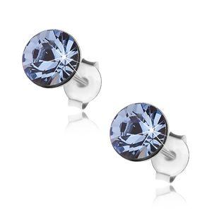 Wkręty ze srebra 925, jasnoniebieski Swarovski kryształ, 7 mm