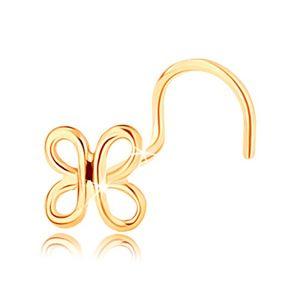 Zagięty złoty piercing do nosa 585 - lśniący kontur motylka