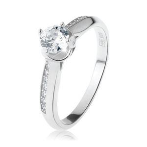Zaręczynowy pierścionek, srebro 925, obłe ozdobione ramiona, przezroczysta okrągła cyrkonia - Rozmiar : 65