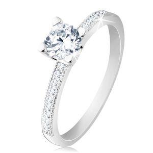 Zaręczynowy pierścionek, srebro 925, płaskie ramiona, bezbarwna okrągła cyrkonia - Rozmiar : 59
