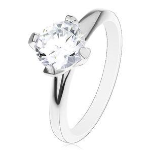 Zaręczynowy pierścionek ze srebra 925, podwyższona okrągła cyrkonia bezbarwnego koloru - Rozmiar : 51