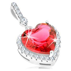 Zawieszka - srebro 925, duże czerwone serce w cyrkoniowej przezroczystej oprawie