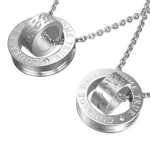 Zawieszka dla dwojga - srebrne obręcze z tekstem krzywych linii i napisem
