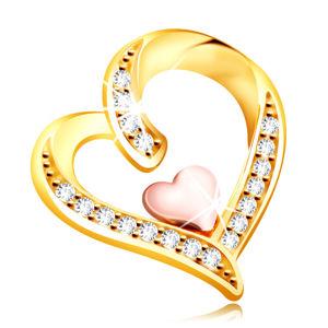 Zawieszka z 14K złota - nieregularne serce ozdobione cyrkoniami z mniejszym serduszkiem pośrodku