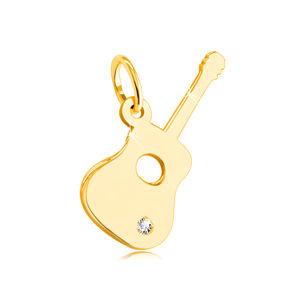 Zawieszka z 14K żółtego złota - gitara z przezroczystą cyrkonią na dole