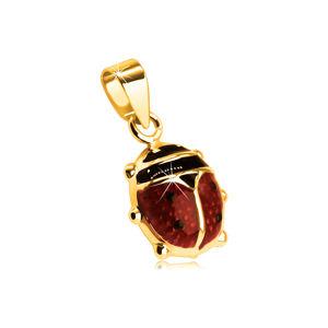Zawieszka z 9K złota - wypukła czerwono-czarna biedronka z emalią