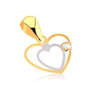 Zawieszka z kombinowanego 9K złota - delikatny podwójny zarys serca, bezbarwna cyrkonia