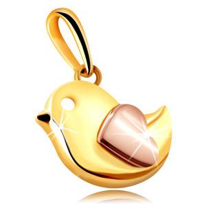 Zawieszka z mieszanego 14K złota - mały ptaszek ozdobiony serduszkiem