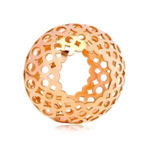 Zawieszka z różowego 14K złota - pusty walec z rzeźbionymi owalami i kółkami