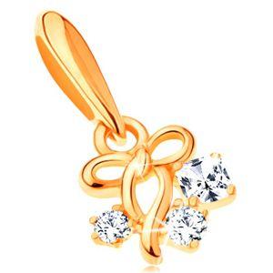 Zawieszka z żółtego 14K złota - cienka lśniąca kokardka i trzy cyrkonie bezbarwnego koloru