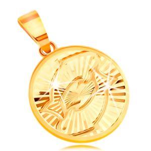 Zawieszka z żółtego 14K złota - koło z lśniącymi promienistymi wycięciami - RYBY