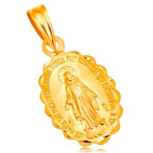 Zawieszka z żółtego 18K złota - owalny medalik z Maryją Panną, dwustronny