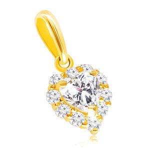 Zawieszka z żółtego 9K złota - regularne serce ozdobione cyrkoniami w bezbarwnym odcieniu