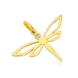 Zawieszka z żółtego złota 585 - błyszcząca ważka z wyciętymi skrzydłami, cyrkonia