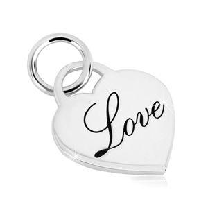 """Zawieszka ze srebra 925 - lustrzano lśniący zamek w kształcie serca, ozdobny napis """"Love"""""""