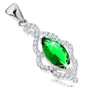 Zawieszka ze srebra 925, zielone cyrkoniowe ziarenko, błyszczący listek z cyrkonii