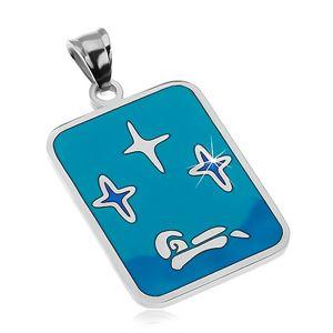 Zawieszka ze stali 316L, emalia w odcieniach niebieskiego koloru, gwiazdy i łódź