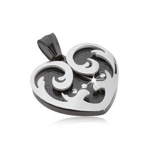 Zawieszka ze stali, serce z ornamentami w kolorach czarnym i srebrnym, cyrkonie