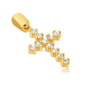Zawieszka ze złota 14k - błyszczący krzyżyk o wypukłych kołeczkach