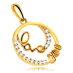 """Zawieszka ze złota 14K - pierścionek z ozdobnym napisem """"Love you"""", małe przezroczyste cyrkonie"""