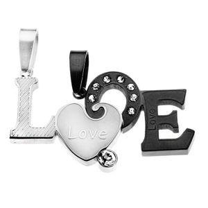 Zawieszki dla dwojga - dwuczęściowy napis LOVE, matowa powierzchnia