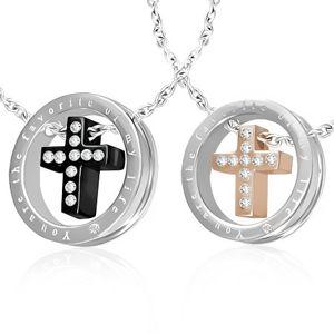 Zawieszki dla dwojga - krzyże z cyrkoniami w kole, czarny i złoty