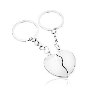 Zawieszki na klucze dla pary, srebrny odcień, rozdzielone serce - dwie połówki