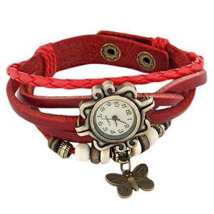 Zegarek na rękę, ozdobnie wycinany, czerwony pleciony pasek, koraliki