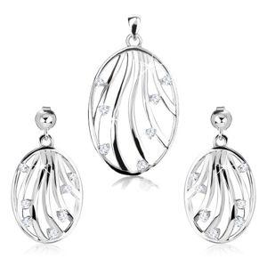 Zestaw - srebrne kolczyki i wisiorek 925, kontury owalu, pofalowane linie, cyrkonie