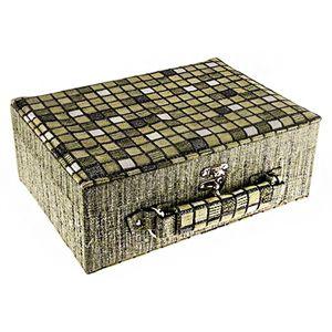Zielona kwadracikowa szkatułka na biżuterię - kuferek z rączką