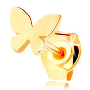 Złota 1 sztuka kolczyka 585, mały płaski motylek o lśniącej powierzchni, wkręt