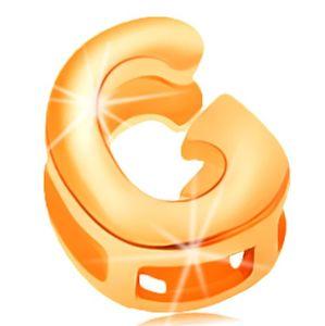 Złota 14K zawieszka 585 - lśniąca i gładka powierzchnia, drukowana litera G