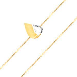Złota 585 bransoletka - cienki łańcuszek, dwukolorowa płaska łza z wycięciem