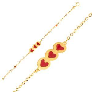 Złota bransoletka 375 - błyszczący łańcuszek, wstawka z serduszkami, koraliki, emalia