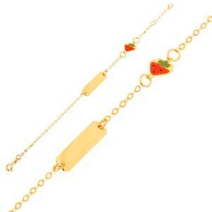 Złota bransoletka 375 - łańcuszek z lśniącą płytką, zawieszka truskawka z emalią
