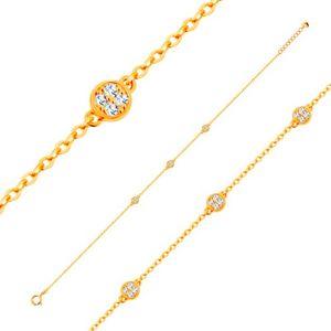 Złota bransoletka 585 z owalnych ogniw z trzema błyszczącymi kółkami