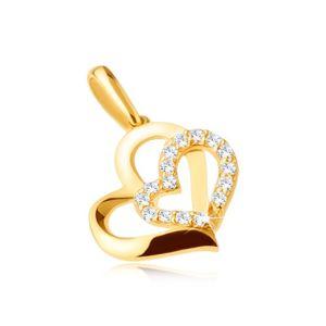 Złota zawieszka 585 - dwa asymetryczne kontury serc, kamyczki