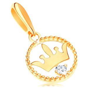 Złota zawieszka 585 - lśniąca korona w karbowanej obręczy, przezroczysta cyrkonia