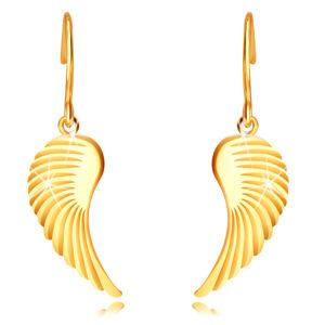 Złote 14K kolczyki - duże anielskie skrzydła, błyszcząca powierzchnia, bigiel