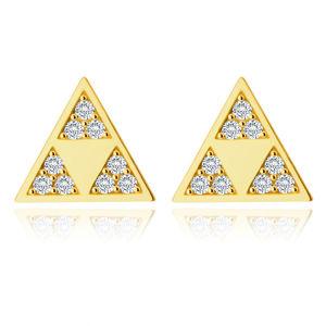Złote 585 kolczyki - lśniący trójkąt z trzema mniejszymi trójkątami w wycięciu, małe cyrkonie