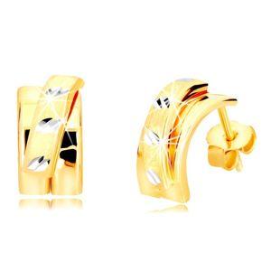 Złote kolczyki 14K - szerszy łuk z matowym półkolem, sztyfty