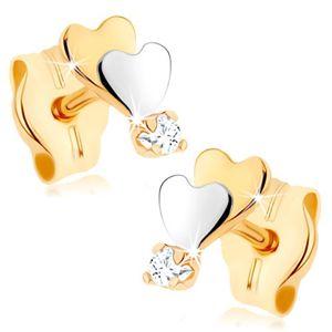Złote kolczyki 375 - małe płaskie serduszko, lustrzany połysk, przejrzysta cyrkonia