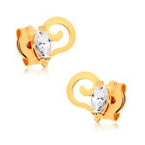 Złote kolczyki 375 - spiralnie zwinięta linia, przezroczyste cyrkoniowe ziarenko