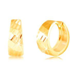 Złote kolczyki 585 - błyszczące rozszerzone koło, lśniąca szlifowana powierzchnia