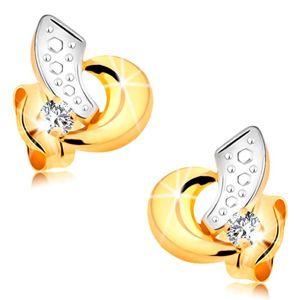Złote kolczyki 585 - łuki z białego i żółtego złota, bezbarwny błyszczący brylant