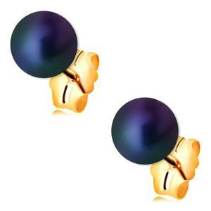 Złote kolczyki 585 - okrągła perła z kolorowymi refleksami, wkręty